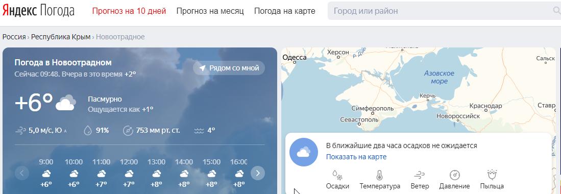 Прогноз погоды в Новоотрадном Крым от Яндекс